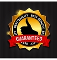 Best Quality Guaranteed Gold Label with Red Ribbon vector image