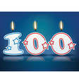 Birthday candle number 100 vector image
