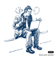 Stressed man sitting on step with laptop vector image vector image