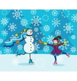 Girl with snowman skating vector image vector image