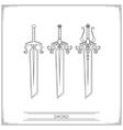 Bevelled Fantasy Sword Lineart vector image