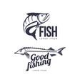 fish flat icon pictogram silhouette set vector image