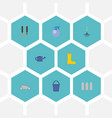 flat icons spray bottle lawn mower rubber boots vector image
