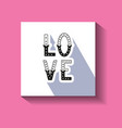 love hand written word with decor elements on card vector image