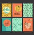 postcards template set hand drawn coffee vector image