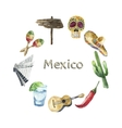 Travel Concept Mexico Landmark Watercolor Icons vector image