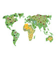 map of earth animals isolated continents and vector image