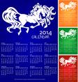 blue calendar horse 2014 recolors vector image