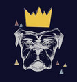 dog and crown vector image