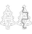 Easy Christmas tree maze vector image