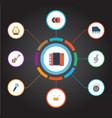 flat icons karaoke tambourine octave keyboard vector image