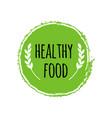 healthy food logo green circle brush vegan badge vector image