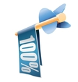 Wooden arrow with bright banner and text 100 vector image