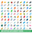 100 office document icons set isometric 3d style vector image