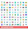 100 gadget icons set cartoon style vector image