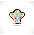 cutlery inside on chef hat background vector image vector image