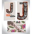 Ancient Business card design LETTER J vector image