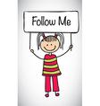 Follow me girl vector image vector image