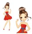 Fashion Brunette Girl In Retro Red Dress vector image