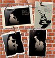 jazz - photo frames on brick wall vector image