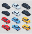 isometric 3d cars set isolated on transparent vector image