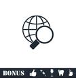 Magnify globe icon flat vector image