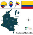 map of colombia with natural regions vector image