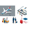isometric airport travel and transport icons vector image
