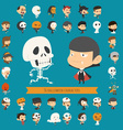 Set of 40 halloween costume characters vector image