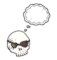 cartoon skull with eye patch with thought bubble vector image