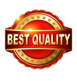 Best Quality guarantee golden label with ribbon vector image