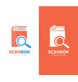 book and loupe logo combination library vector image