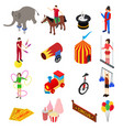 Circus amusement and attraction icons set vector image