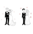 Doodle couple on wedding ceremony vector image
