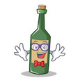 geek wine bottle character cartoon vector image