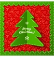 Green textile applique Christmas tree vector image