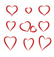 hearts drawing set vector image