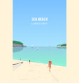 seascape with people walking on sand beach and vector image