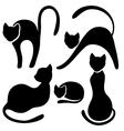 Set of black cat silhouette Collection on white vector image