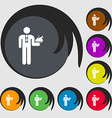 Waiter icon sign Symbols on eight colored buttons vector image