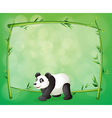 A framed bamboo with a big panda vector image