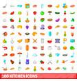 100 kitchen icons set cartoon style vector image