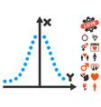 gauss plot icon with valentine bonus vector image
