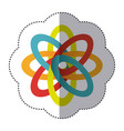 sticker shading colorful rings in atom shape vector image