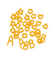 noodle letters raw pasta macaroni cartoon vector image
