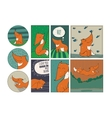 Set of cute cards with kind foxes isolated on vector image