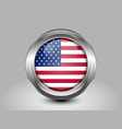 Flag of United States of America Glass Round Icon vector image