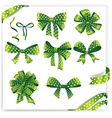 Set of green polka dot gift bows with ribbons vector image