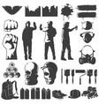 street art black white icons set vector image