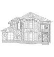 Two-storey house coloring vector image